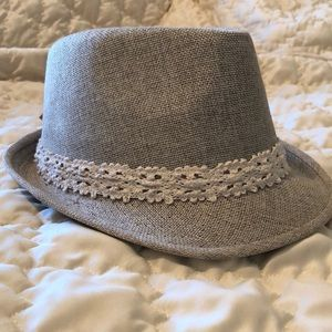 Neutral fedora with lace detail